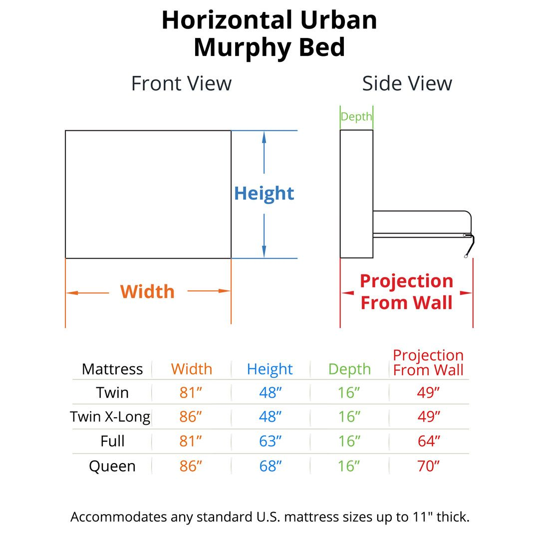 Horizontal Urban Murphy Bed Dimensions