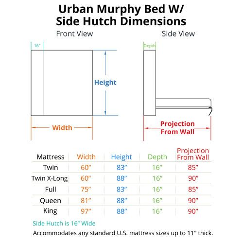 Urban Murphy Bed with Hutch Dimensions