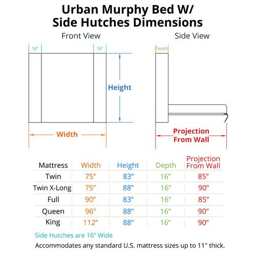 Urban Murphy Bed with Hutches Dimensions